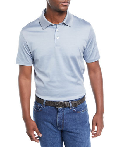 Men's Needle Stripe Cotton/Silk Polo Shirt