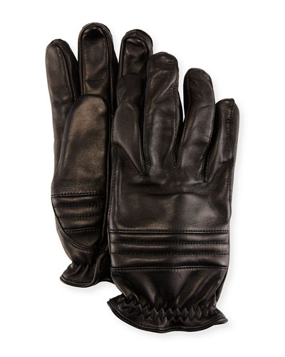 Oscar Leather Elastic-Cuff Gloves