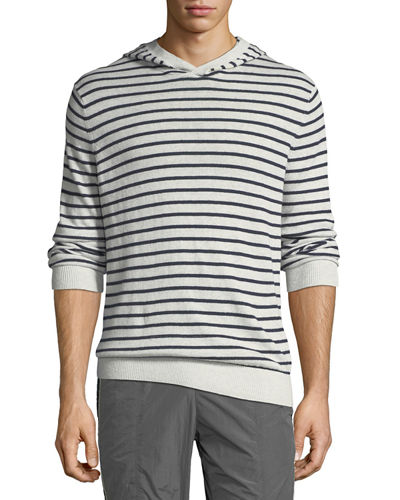 Men's Striped Linen/Cotton Pullover Hoodie