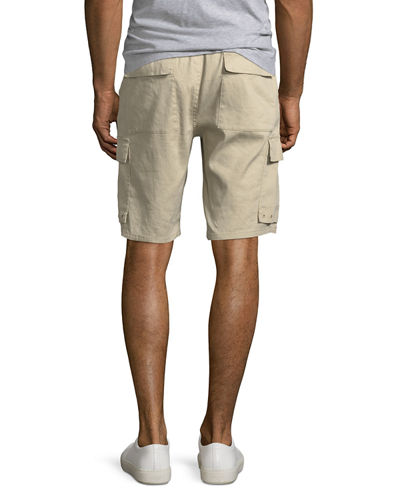 Men's Drawstring Linen-Blend Cargo Shorts