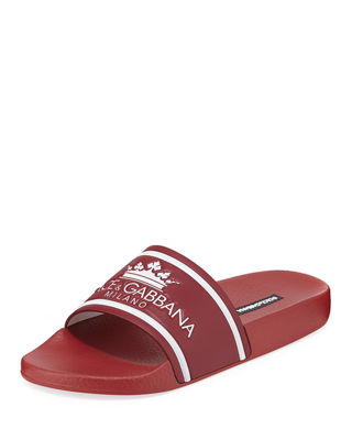 Dolce & Gabbana Men's Crown Logo Slide Sandals