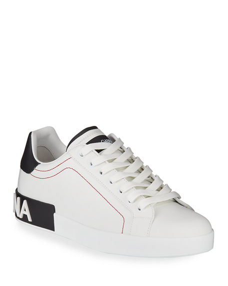 Image 1 of 4: Dolce & Gabbana Men's Portofino Two-Tone Leather Sneakers