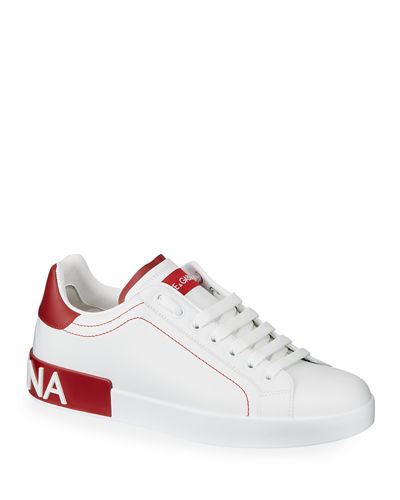 Dolce & Gabbana Men's Portofino Two-Tone Leather Sneakers