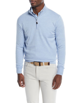 Peter Millar Men's Crown Soft Quarter-Zip Wool/Silk Sweater