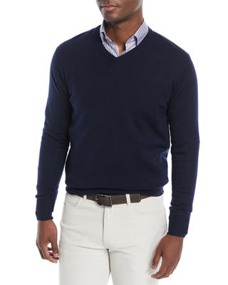Peter Millar Men's Crown Soft Wool/Silk V-Neck Sweater