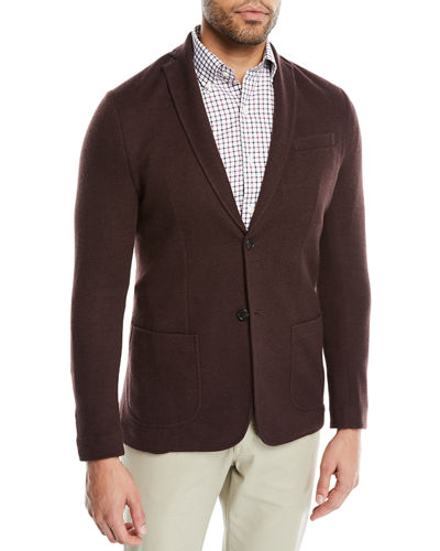 Crown Cashmere Knit Two-Button Blazer