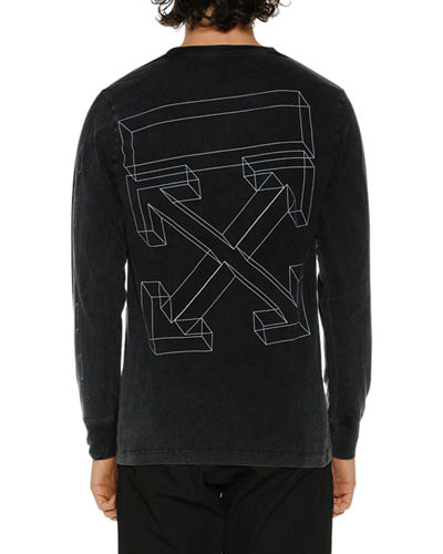 Men's Diagonal 3D Lines Crewneck Sweatshirt