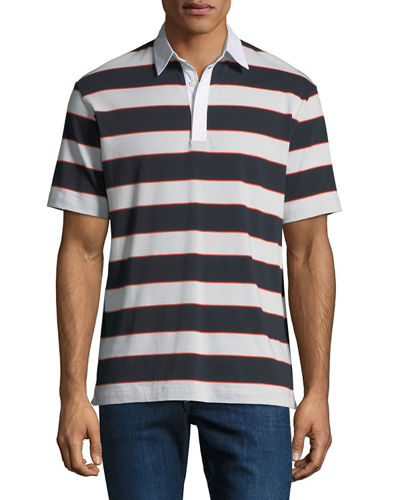 Men's Barrel Stripe Rugby Polo Shirt