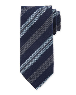 Eton Wide Textured Stripe Silk Tie