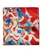 Eton Painted Floral Linen-Blend Pocket Square
