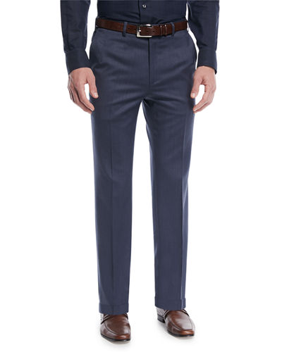 Men's Wool Straight-Leg Twill Trousers