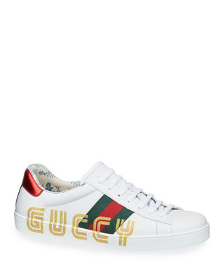 New Ace Glitter-Embellished Leather Trainers, White