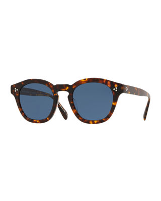 OLIVER PEOPLES Boudreau L.A. 48Mm Round Sunglasses - Dark Mahogany