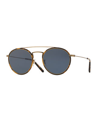 Oliver Peoples Men's Row Ellice Round Metal/Acetate Sunglasses