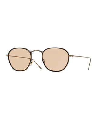 Oliver Peoples Men's Row Eoin Round Metal Sunglasses