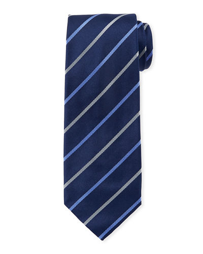 Diagonal Satin Striped Silk Tie