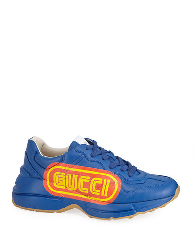 Rhyton Gucci Print Leather Sneaker