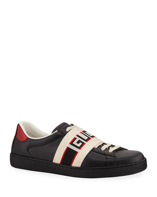 GUCCI New Ace Low-Top Leather Trainers, Black Leather