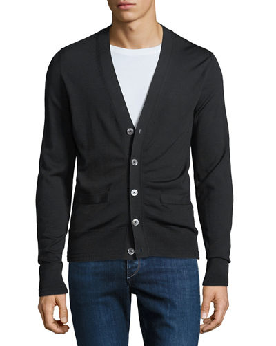 Men's Fine-Gauge Wool Button-Front Cardigan