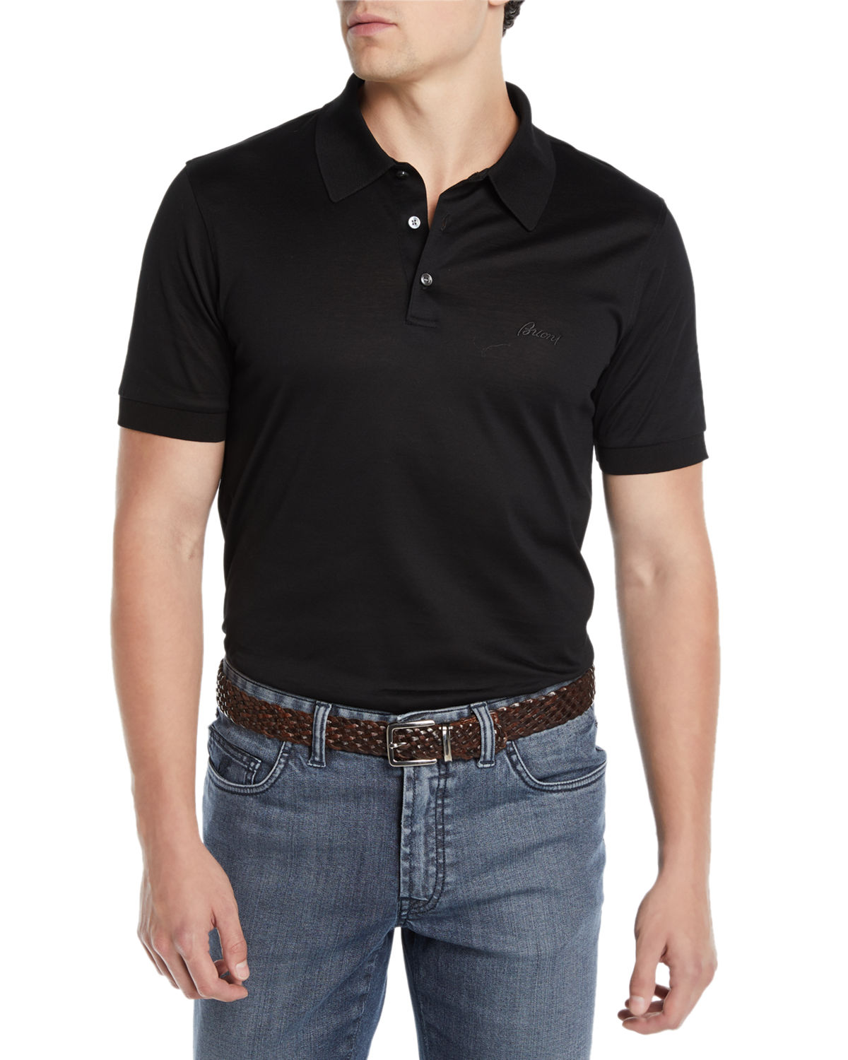 b718e0cb0ef Brioni Men's Three-Button Jersey Polo Shirt | Neiman Marcus