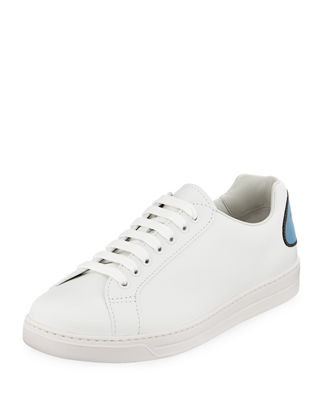 Prada Men's Avenue Bubble-Patch Leather Low-Top Sneakers