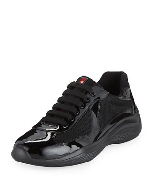 Prada Men's America's Cup Vernice Low-Top Bike Sneakers