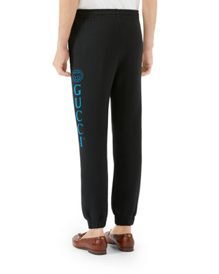 Men'S Drawstring Sweatpants With Logo Print, Multi in Black