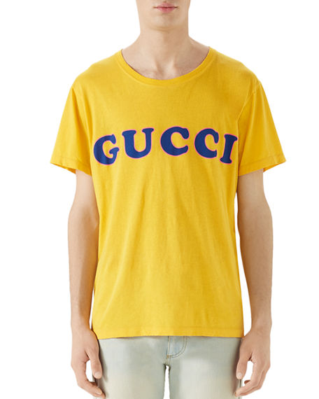 f9c0b311a9d Gucci Distressed Logo-Print Cotton-Jersey T-Shirt In Yellow