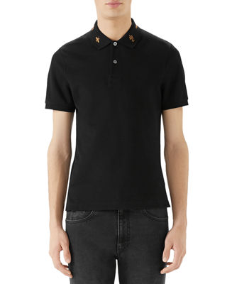 Gucci Men's Emblems Embroidered-Collar Polo Shirt