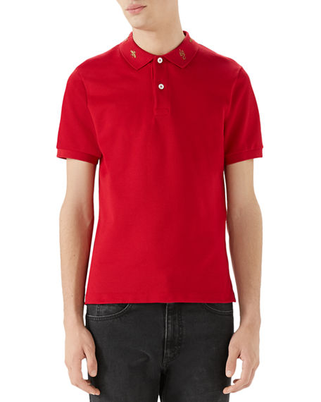 878fee65d Gucci Men'S Emblems Embroidered-Collar Polo Shirt In Red | ModeSens