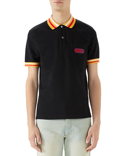 Men's Piqué-Knit Polo Shirt with Contrast Color