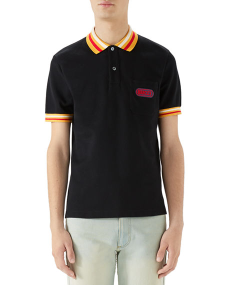 715a7eb24b7 Gucci Men s Pique-Knit Polo Shirt with Contrast Color