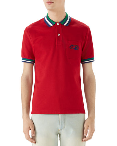 Men's Pique-Knit Polo Shirt with Contrast Color