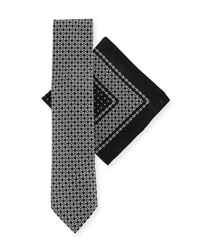 Medium-Check Tie & Pocket Square Set