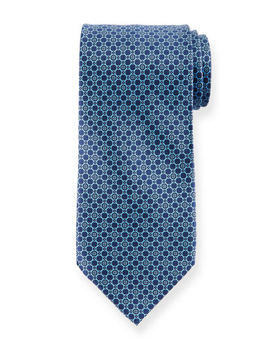Medium-Circle Printed Silk Tie