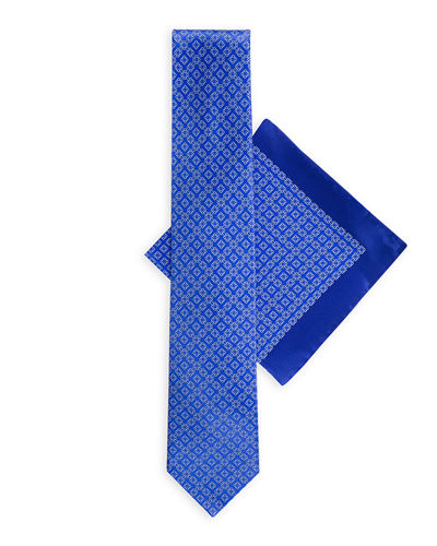 Large-Square Silk Tie & Pocket Square Set