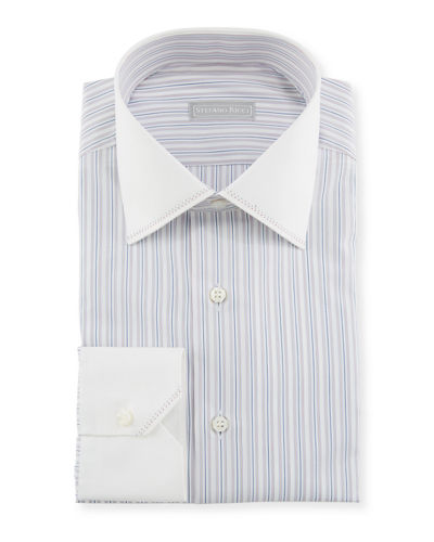 Stefano Ricci Men's Tonal-Stripe Pickstitch Dress Shirt w/ Contrast Cuff and Collar
