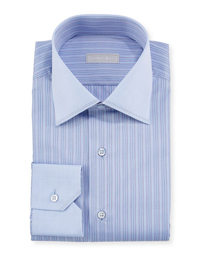 Men's Tonal-Stripe Pickstitch Dress Shirt w/ Contrast Cuff and Collar