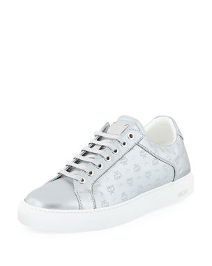 3d3a0454 MCM Men's Metallic Logo-Stamped Low-Top Sneakers