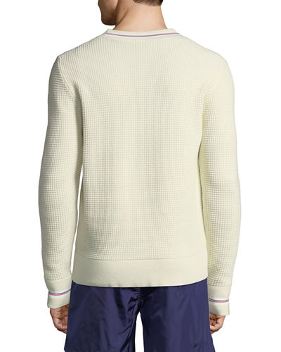 Men's Waffle-Knit Crewneck Pullover Sweater