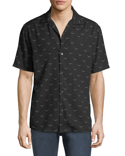 Men's Camp-Collar Printed Short-Sleeve Sport Shirt