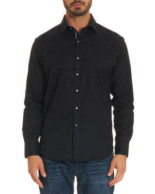 Robert Graham Diamante Basic Tonal Jacquard Sport Shirt