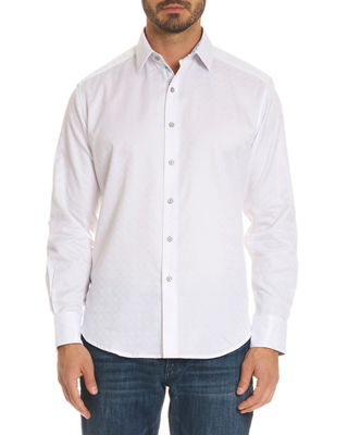 ROBERT GRAHAM Rosendale Classic Fit Jacquard Sport Shirt in White