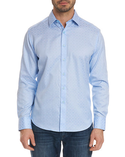 Diamante Basic Tonal Jacquard Sport Shirt