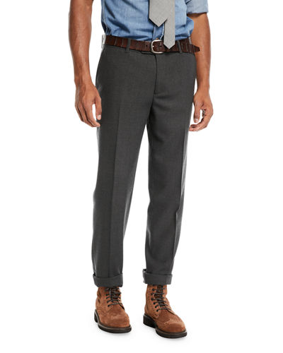 Men's Wool Twist Flat-Front Pants