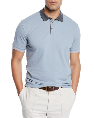 Men's Pique Polo Shirt with Contrast Trim