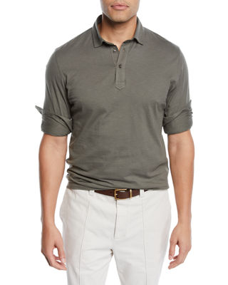 Brunello Cucinelli Men's Long-Sleeve Polo Shirt