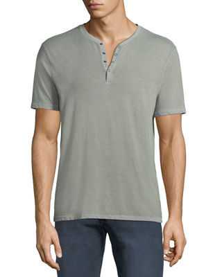 John Varvatos Star USA Men's Short-Sleeve Snap Henley
