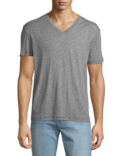 Men's V-Neck Heathered T-Shirt with Stitching Detail