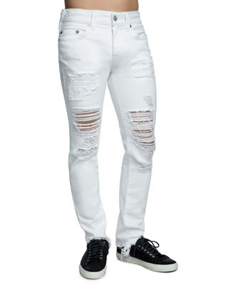 TRUE RELIGION Men'S Rocco Ripped Skinny Fit Stretch Jeans in Fair White Volcanic Ash